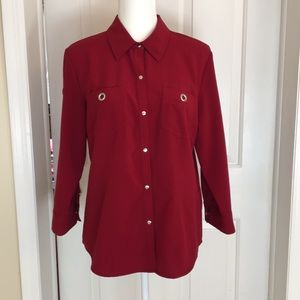 Dress Barn Red Stretch Blouse Size L